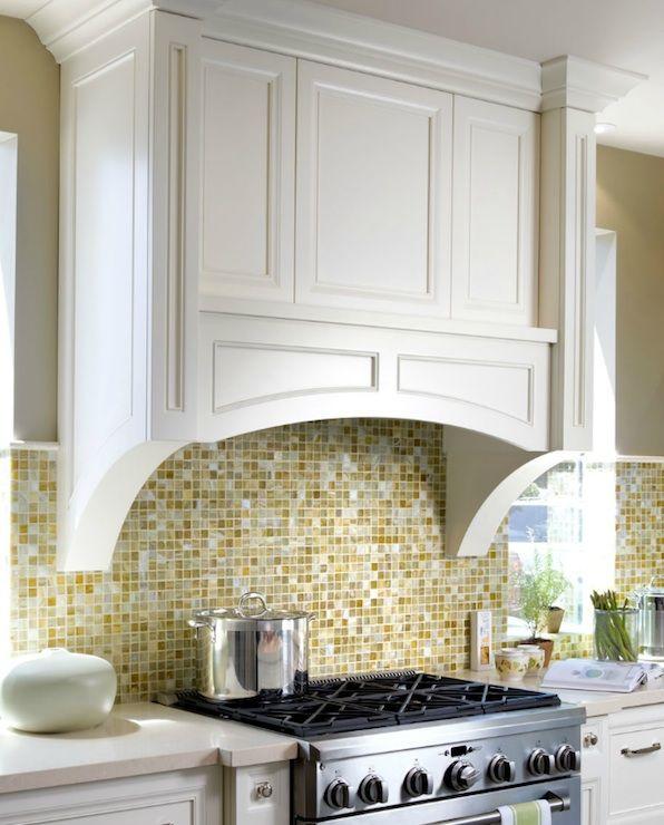 17 Tempting Tile Backsplash Ideas For Behind The Stove: Yellow And Tan Backsplash For Kitchen