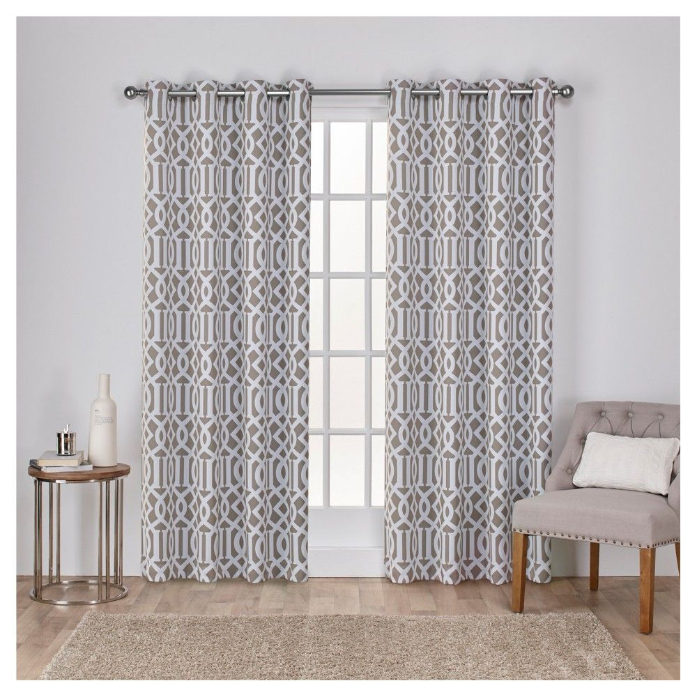 """Scrollwork Gated Print Sateen Woven Room Darkening Grommet Top Window Curtain Panel Pair Taupe (Brown) (52""""x84"""") - Exclusive Home"""