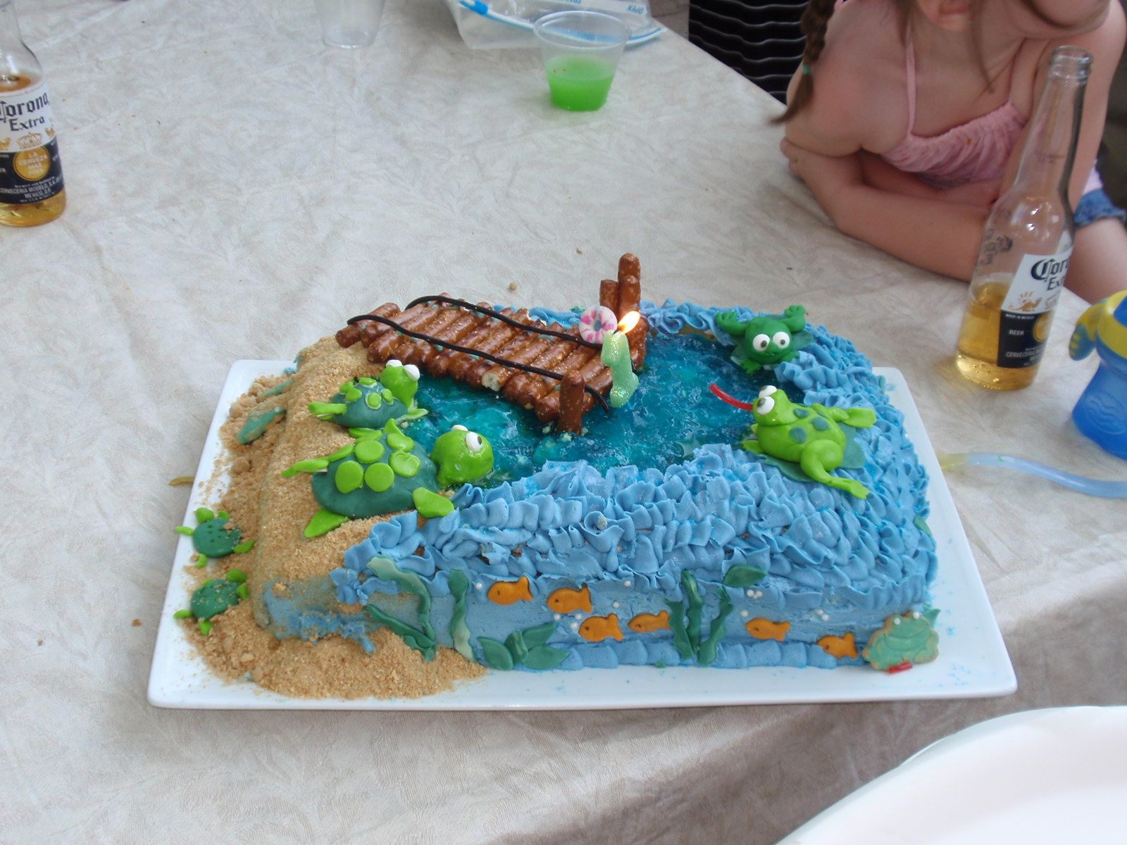 Water themed birthday cake frogs turtles and fish with a for Fishing themed birthday cakes