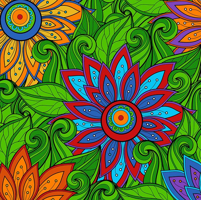 Adult Coloring Book Design - Flower, colorful, artistic