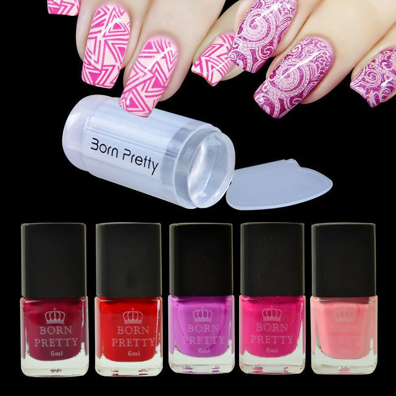 6pcs/set Red Series Nail Stamping Polish Manicure & Clear Stamper ...