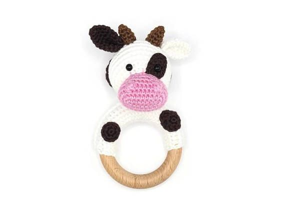 Crochet Pattern Rattle Cow Bijtring Haakpatronen En Haken