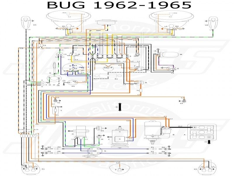 vw tech article 1960-61 wiring diagram | vw trike, diagram, vw bug  pinterest