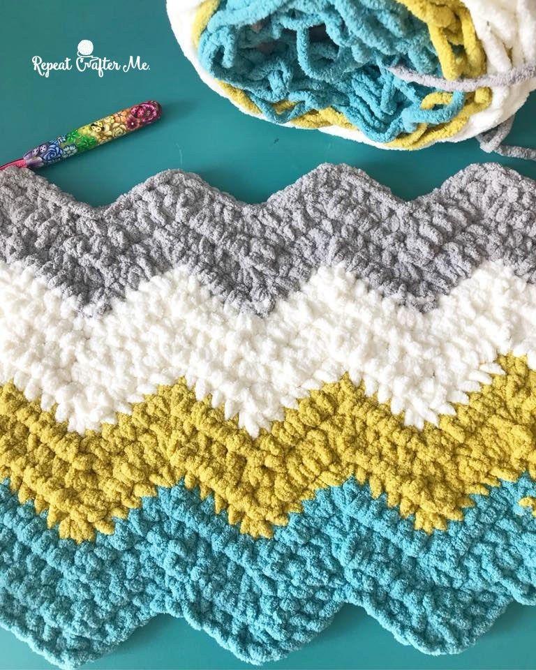 Bernat Blanket Stripes Crochet Chevron Blanket Chevron