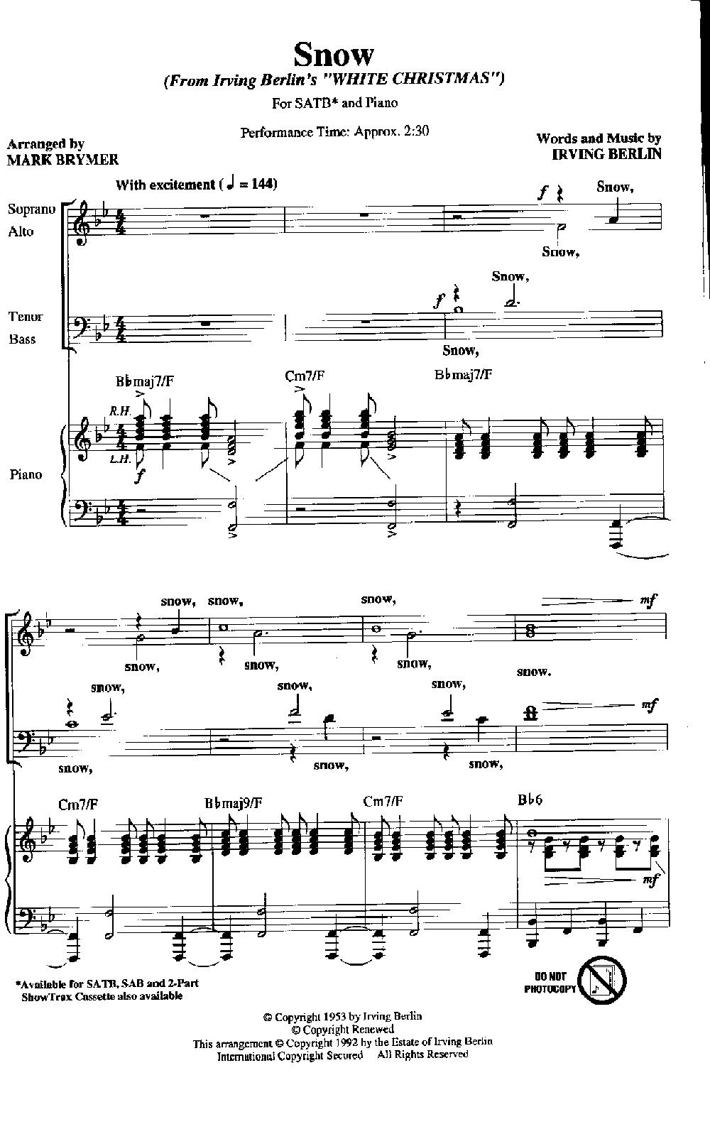 Snow (SATB ) by BRYMER  J.W. Pepper Sheet Music   Choir Music ...