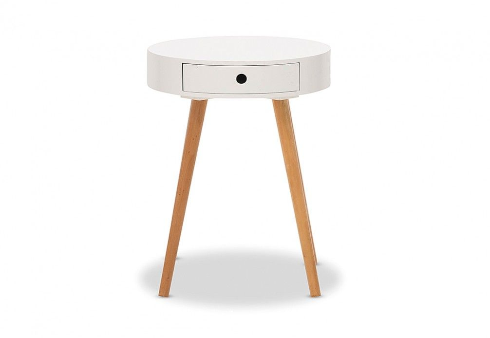 Best Dana 1 Drawer Round Lamp Table Super Amart Side Table 400 x 300