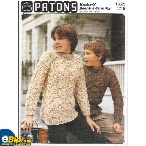 Boys Sweater Jumper Knitting Pattern Knitted In Chunky Yarn Patons