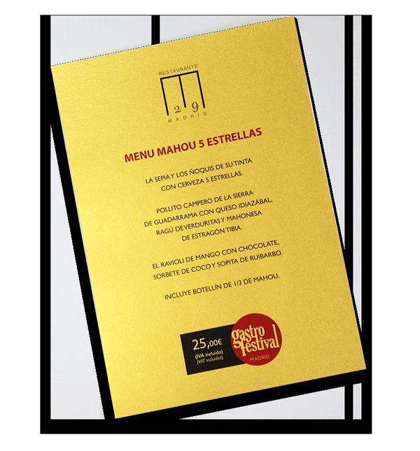 MENÚ MAHOU 5 ESTRELLAS, RESTAURANTE M29
