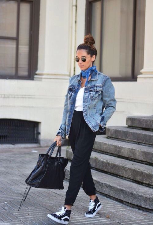 Jean and vans old skool … | Fashion, Scarf trends, Street style