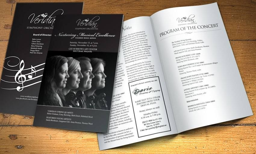 Concert Program Created For Veridian Symphony Orchestra By Www