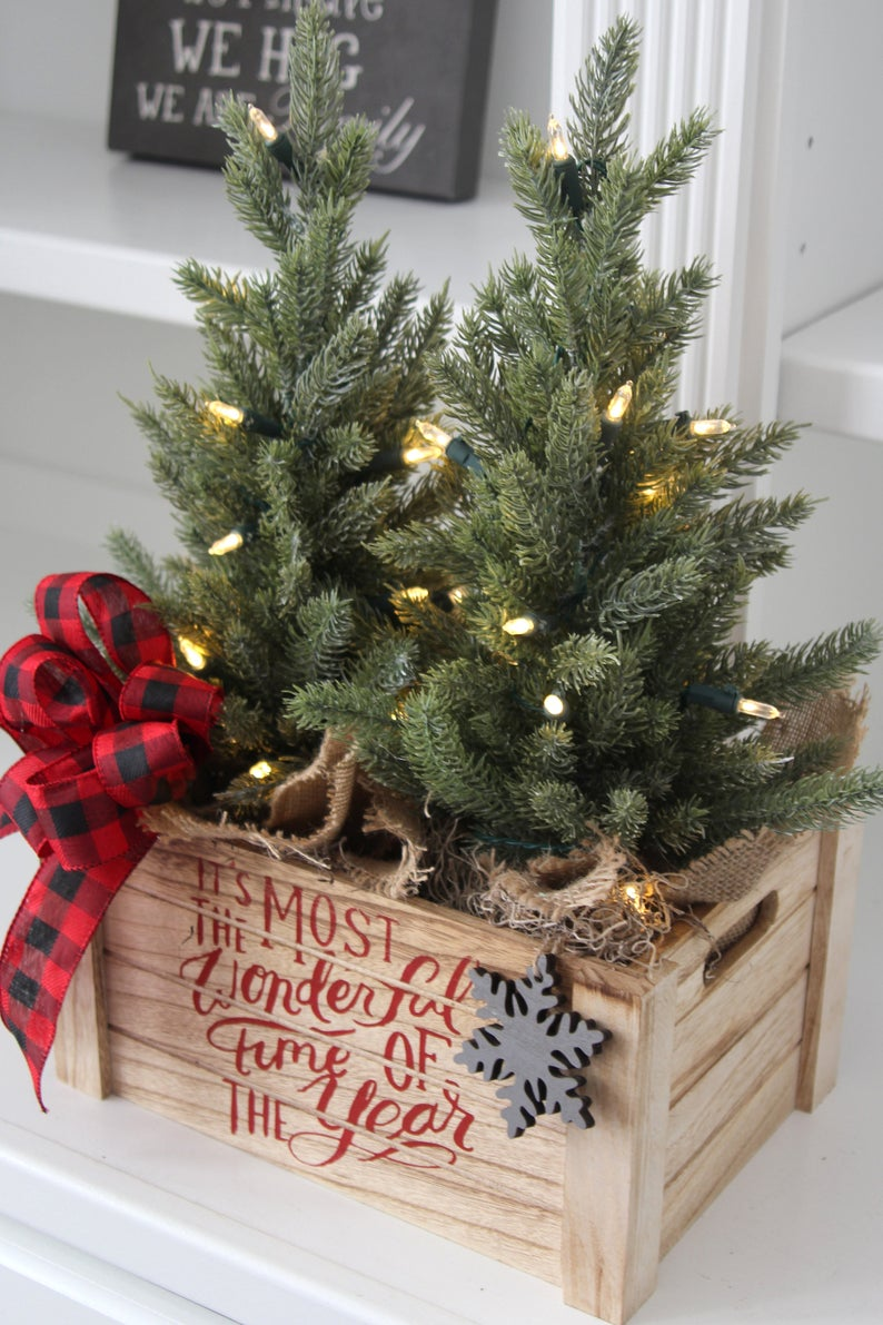 Farmhouse Christmas Decor Christmas Table Top Tree Centerpiece Lit Faux Trees Two Trees In A Wood Box Farmhouse Christmas Decor Christmas Decorations Vintage Christmas Decorations
