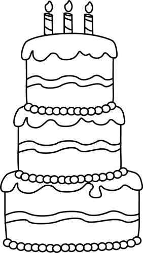 Black And White Big Birthday Cake Boyama Colorir Páginas Para