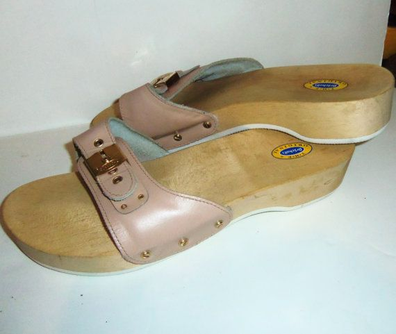 cc76536ea3f Vintage Dr Scholl Wooden Clog Sandals w/ Buckle on Etsy | My Style ...