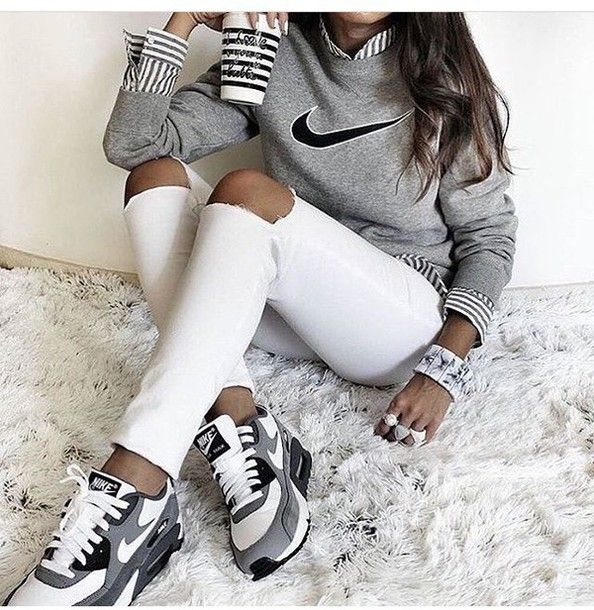 online store 933dd 41676 Shoes  nike, air max, low top sneakers, grey sneakers, nike sneakers, grey  sweater, nike sweater, striped shirt, marble, back to school, white ripped  jeans ...