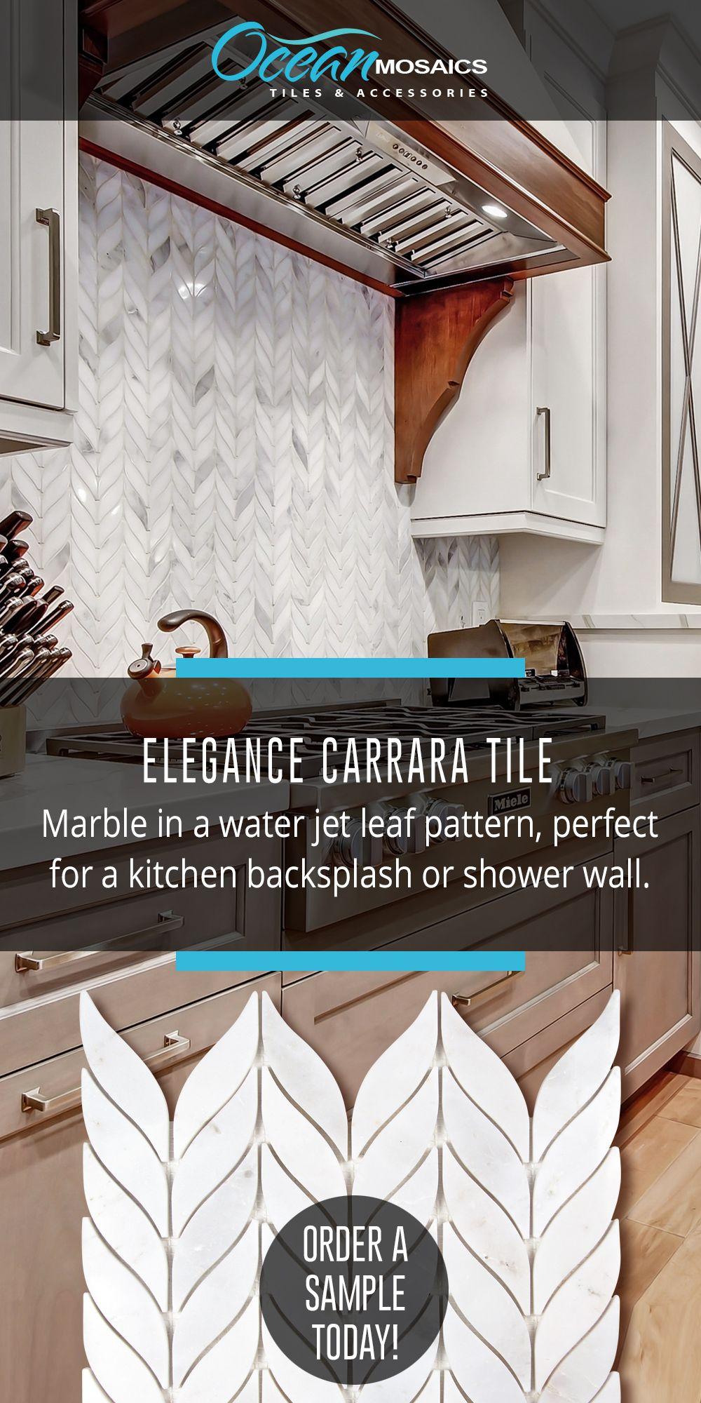Elegance Carrara Waterjet Marble Leaf Mosaic Tile Mosaic Backsplash Mosaic Backsplash Kitchen Backsplash