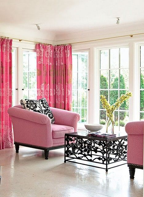 Pink draperies look unexpectedly elegant and modern in this sitting ...