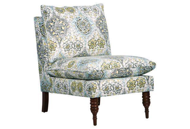 Bacall Slipper Chair, Blue Medallion