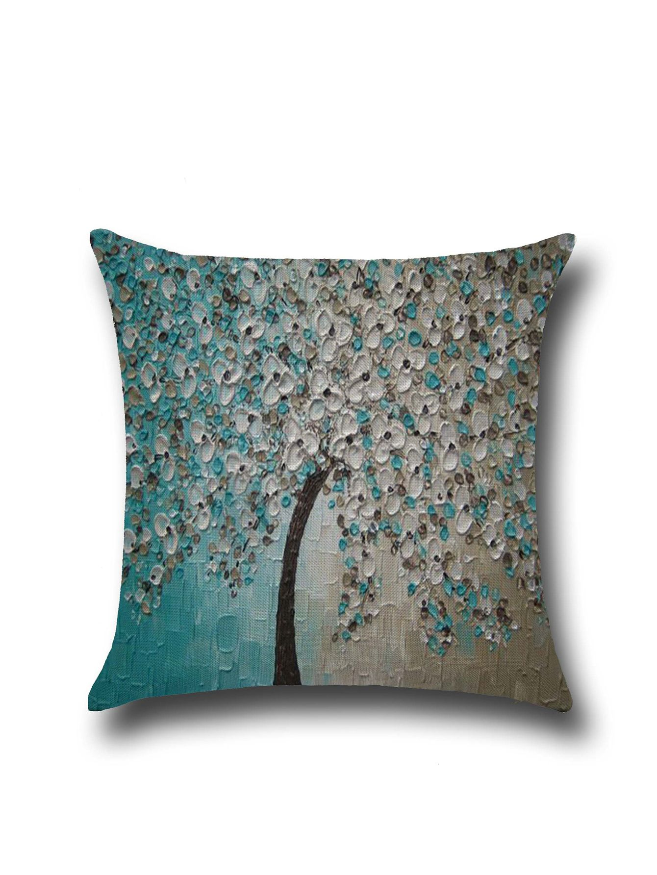 Tree Graphic Oil Plainting Modern Linen Cushion Cover — 4.73 € --color: Multicolor size: None
