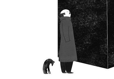 lidia lobato, building, edificio, city, ciudad, neighbors, vecinos, ilustration, black and white, negro y blanco, man, hombre, perro, dog, see, mirar