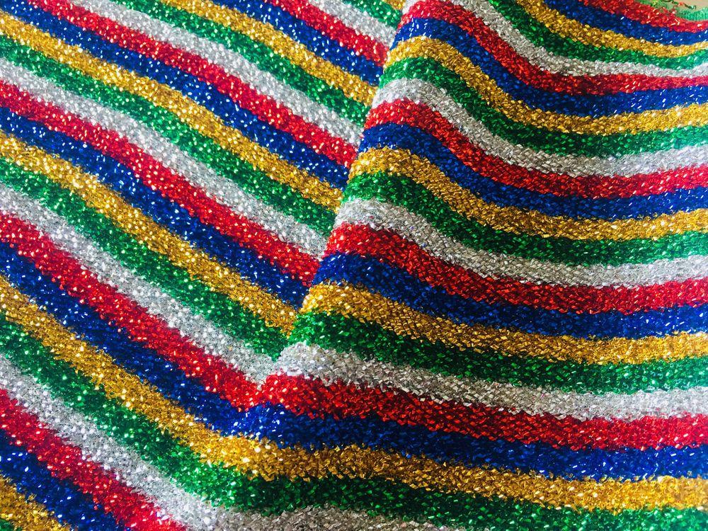 999bd5077ca RAINBOW LUREX Fabric Sparkling Metallic Stripe Rasta Glitter Material 150cm  wide #LushFabric
