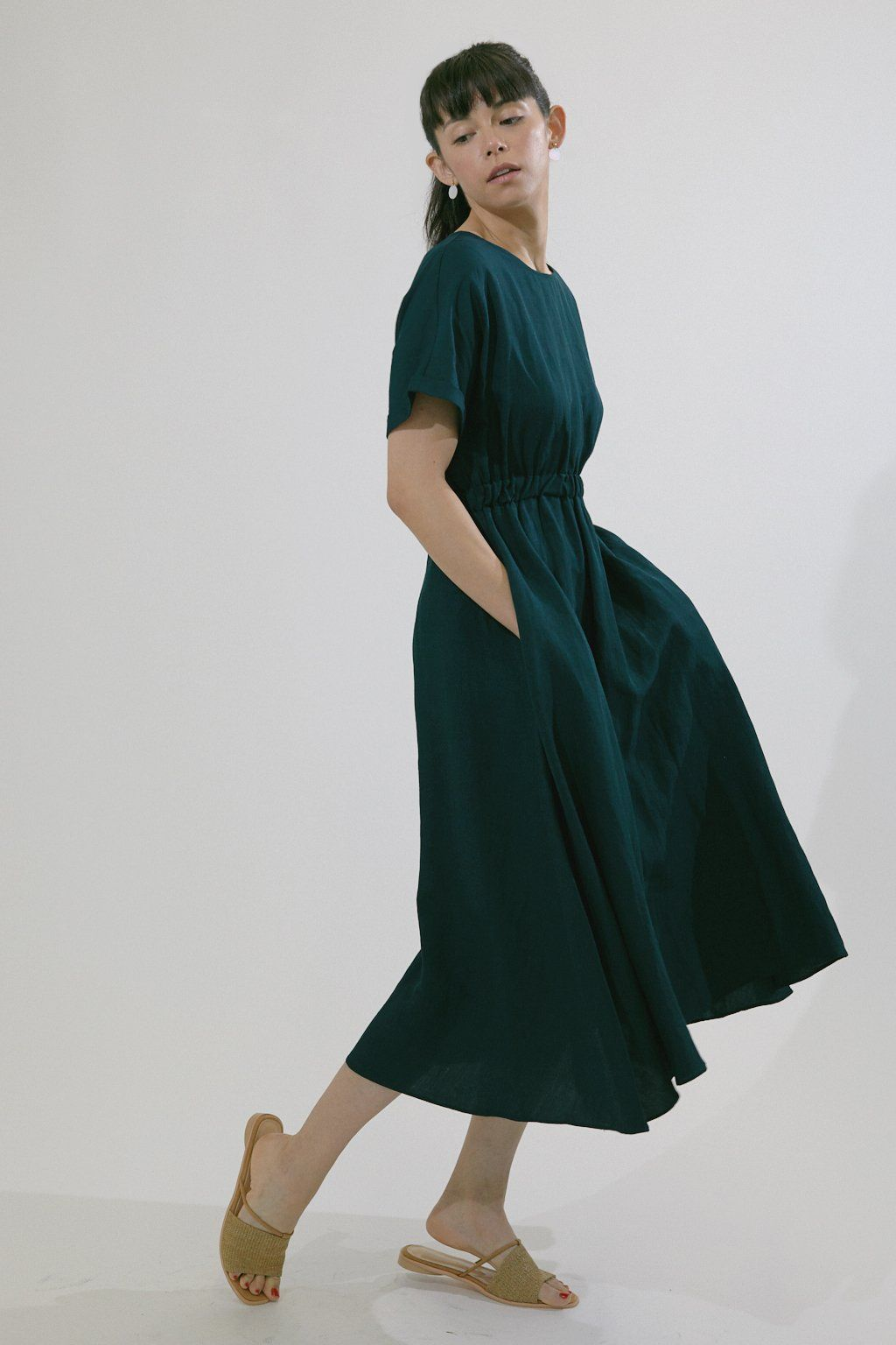 Emerald Green Linen Dress