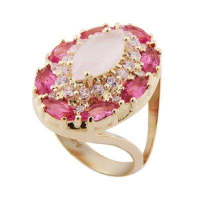 maxi anel cristais rosa com zircônias swarovski brilhante