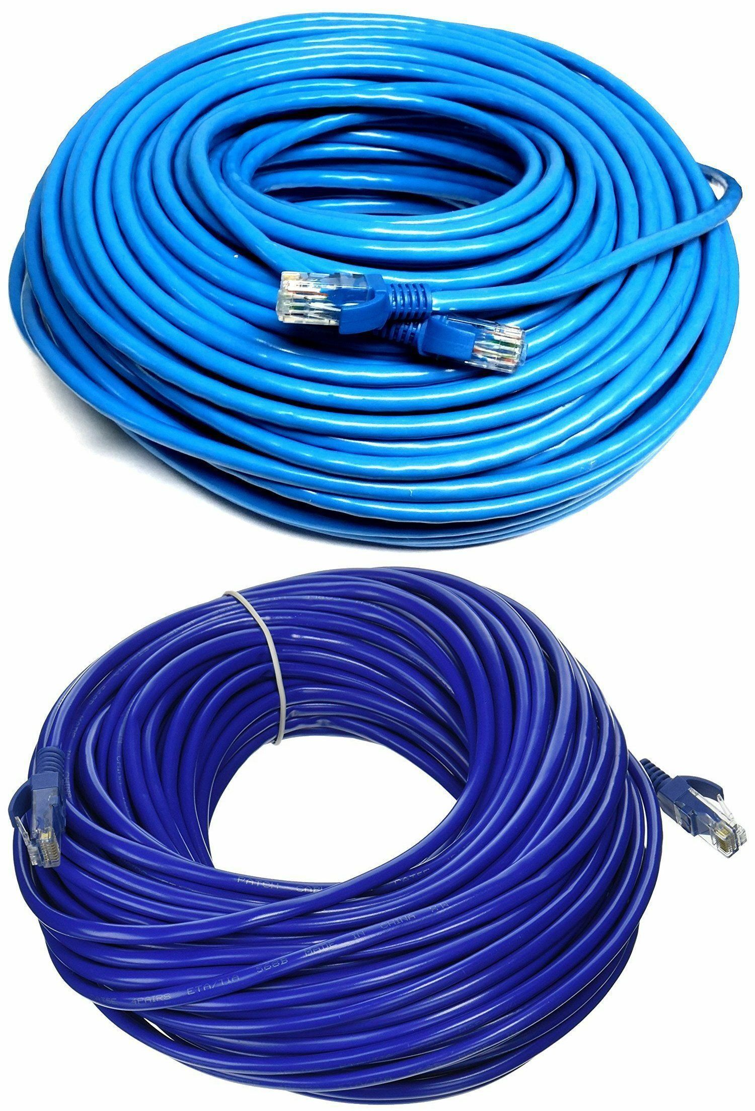 Lot CAT6 Outdoor Cable Blue RJ45 Solid Pure Copper Ethernet Cable 50ft to 100ft