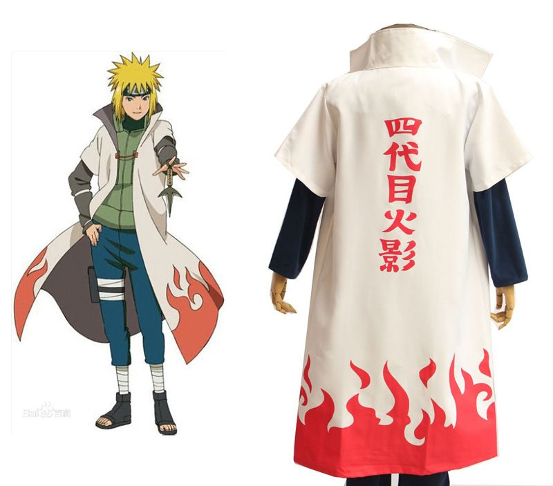 Hot Anime Naruto Cosplay Costumes Fourth Hokage Namikaze Minato Cape Outfit Cloak