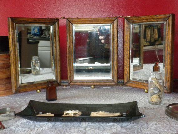 1800s 150 Year Old Oak Trifolding Mirror by dustyatticantiques, $135.00