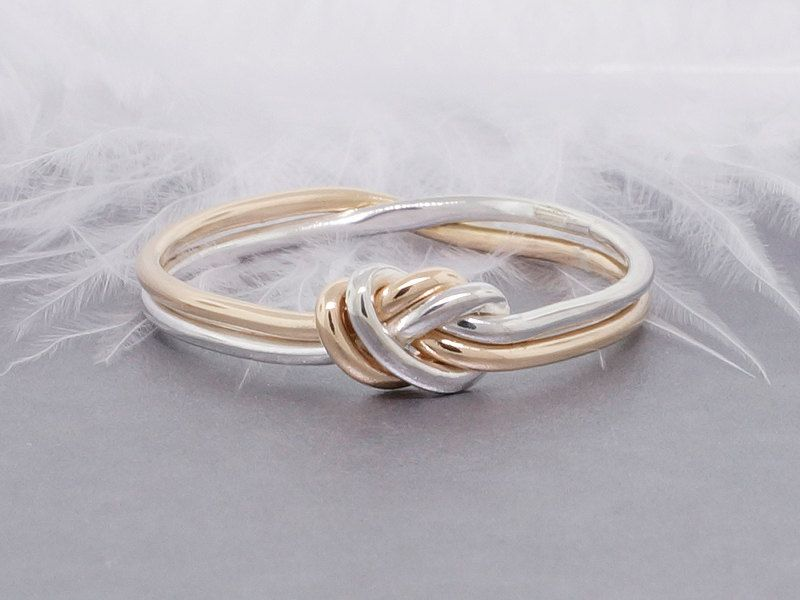 Love knot ring, gold and silver ring, promise ring ...