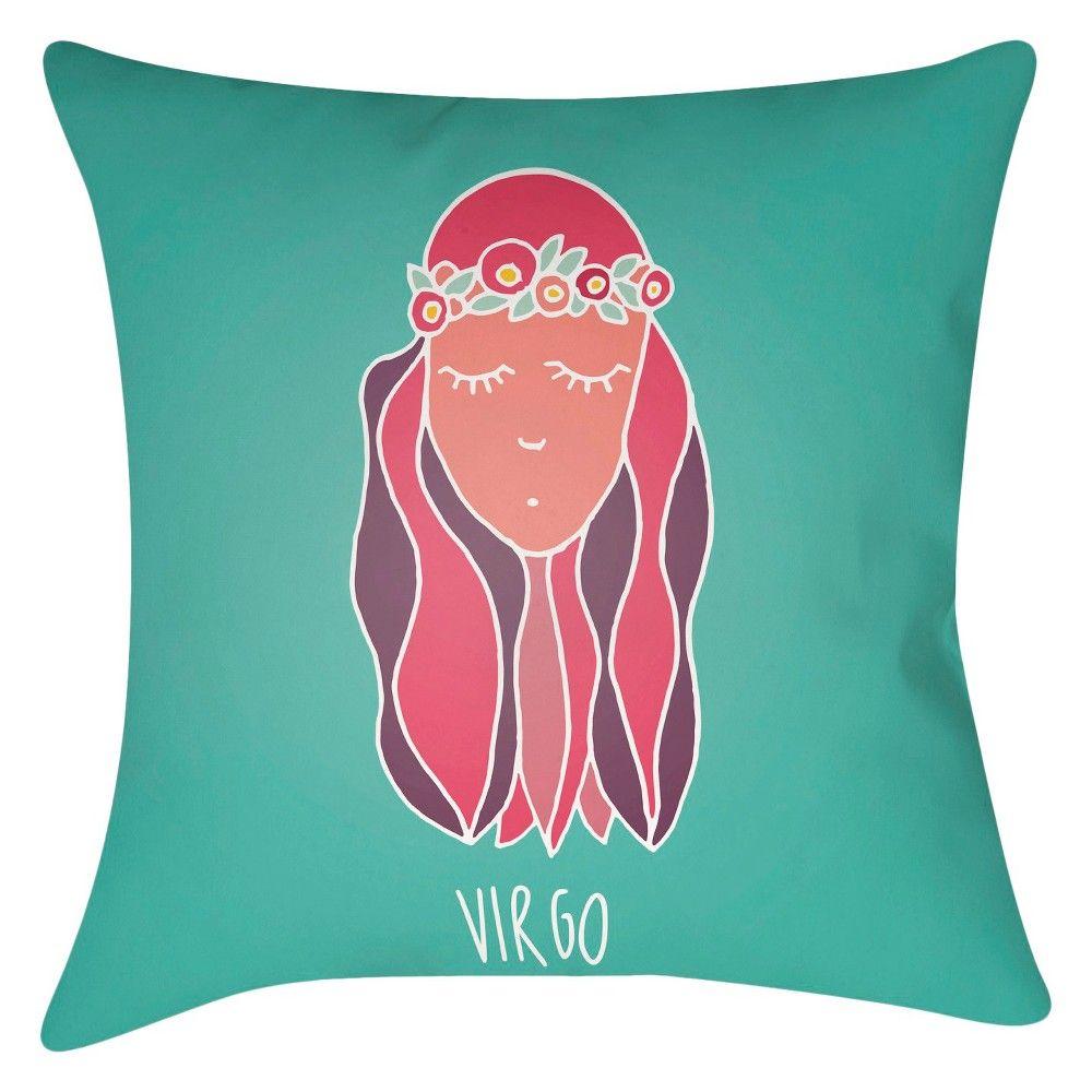 Zodiac Spirit - Virgo - 18x18 Throw Pillow - Hot Pink - Surya, Green