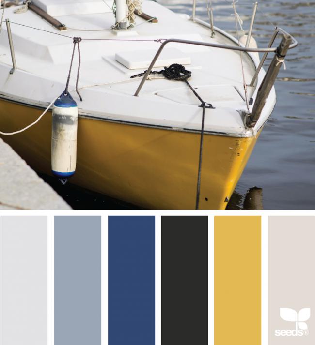 Wandfarbe Goldocker: Farbe-ocker-kombinieren-blau-weiss-maritim