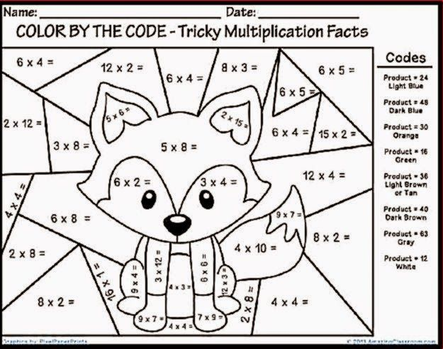 Multiplication Color Sheet Fun Math Worksheets Math Coloring