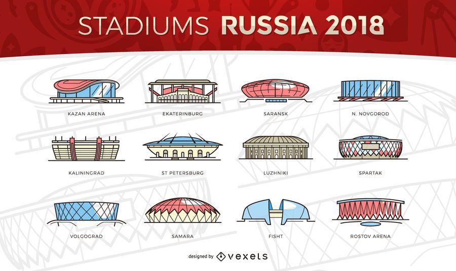 Russia 2018 Stadiums Icons World Cup Stadiums Russia Stadium