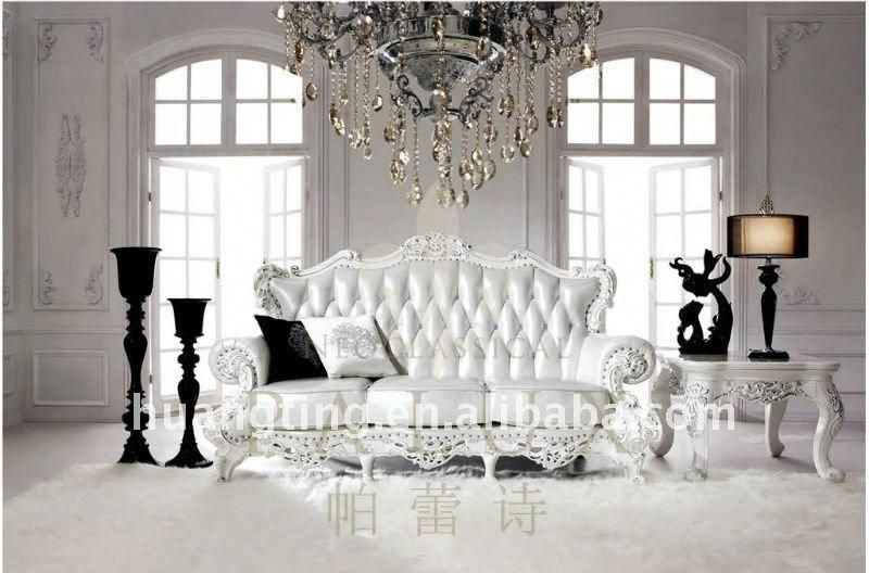 New European Style Italy Leather Sofa Sets Luxury Royal Leather Sofa Rococo French White Leather Sofa Dizajn Interera Dizajn Interer