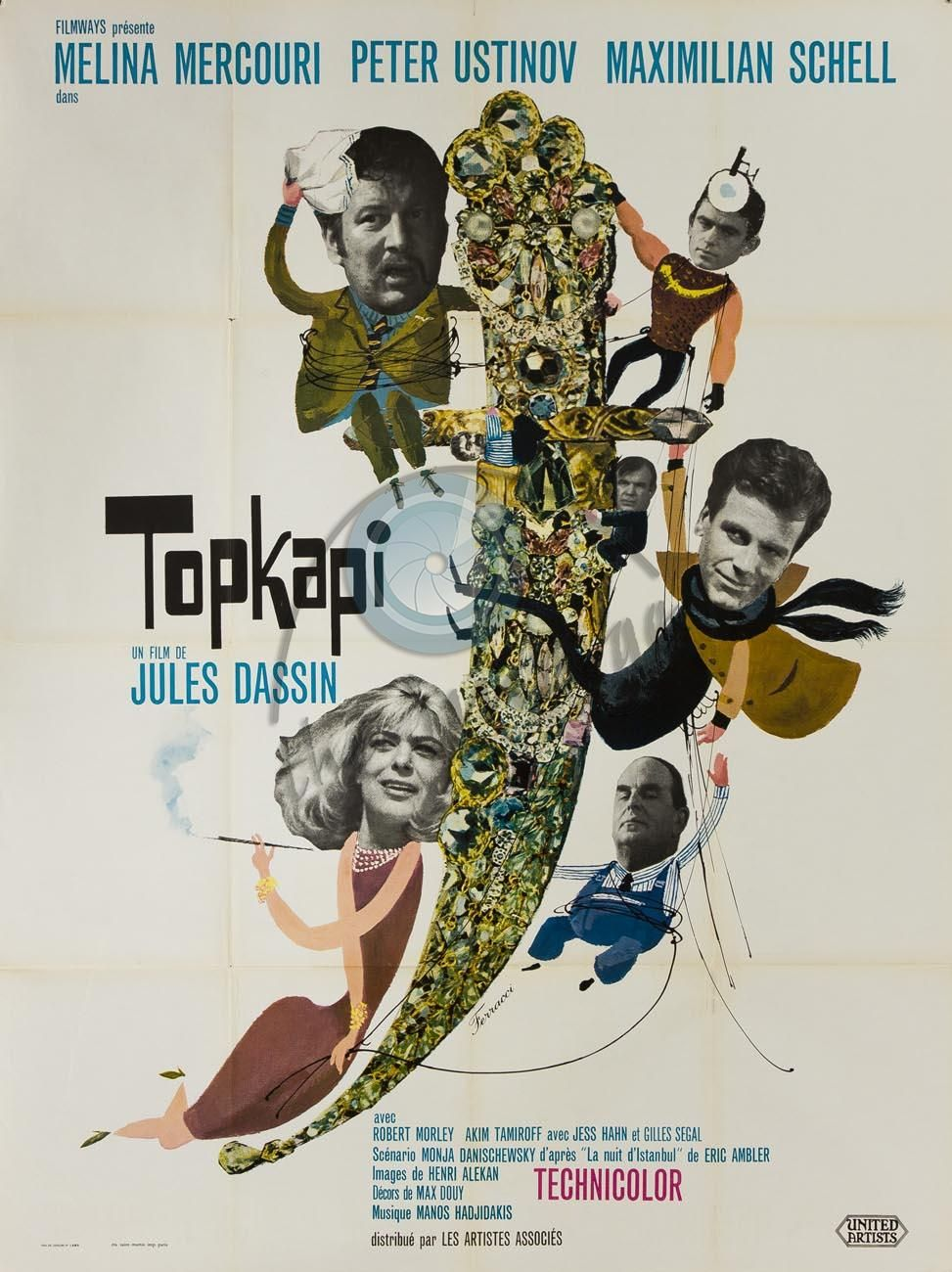 Topkapi movie poster. Higly funny. Sketching, photo collage and cool  lettering.