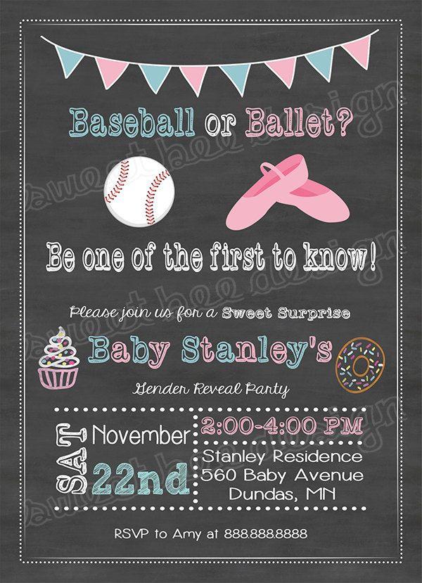 Baseballs or Bows Chalkboard Gender Reveal Party, pink, blue baby ...