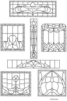 Arts and crafts style stained glass coloring pages