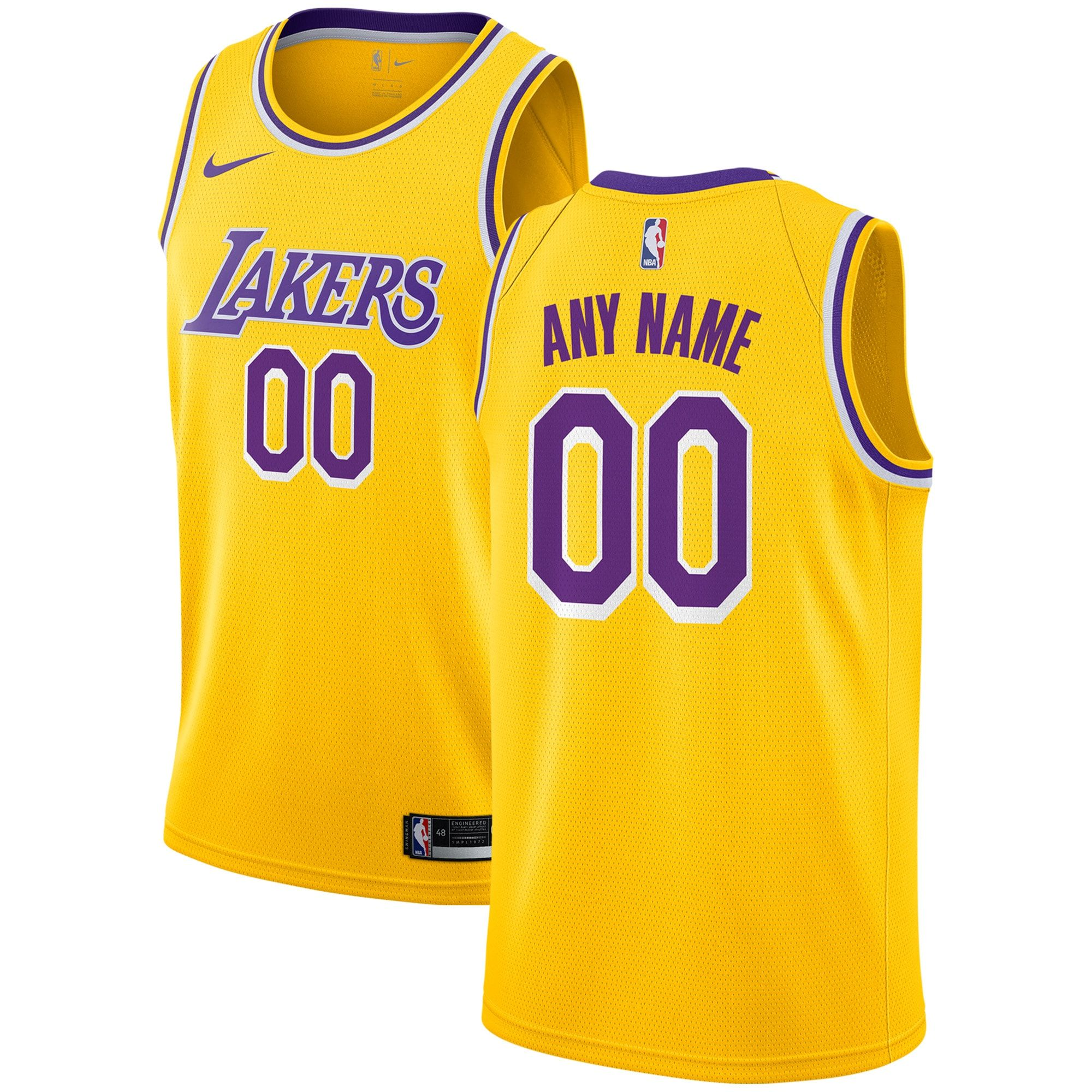 Los Angeles Lakers Nike Custom Swingman Jersey Gold - Icon Edition ...