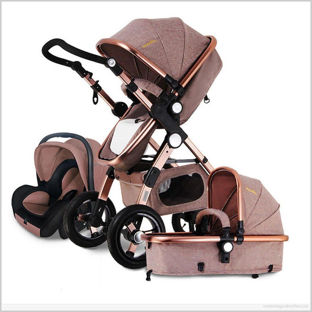 Carriage Type Strollers 3in1 Multi Function Baby Stroller Pram Foldable Pushchair