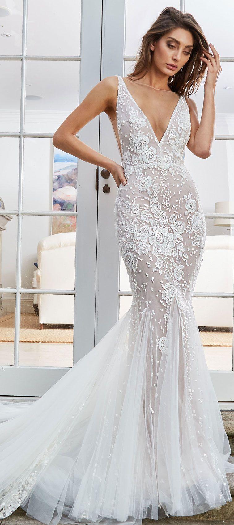 Wedding dress sleeveless embroidered deep v neck mermaid wedding gown swept train #wedding #weddingdress #bridedress