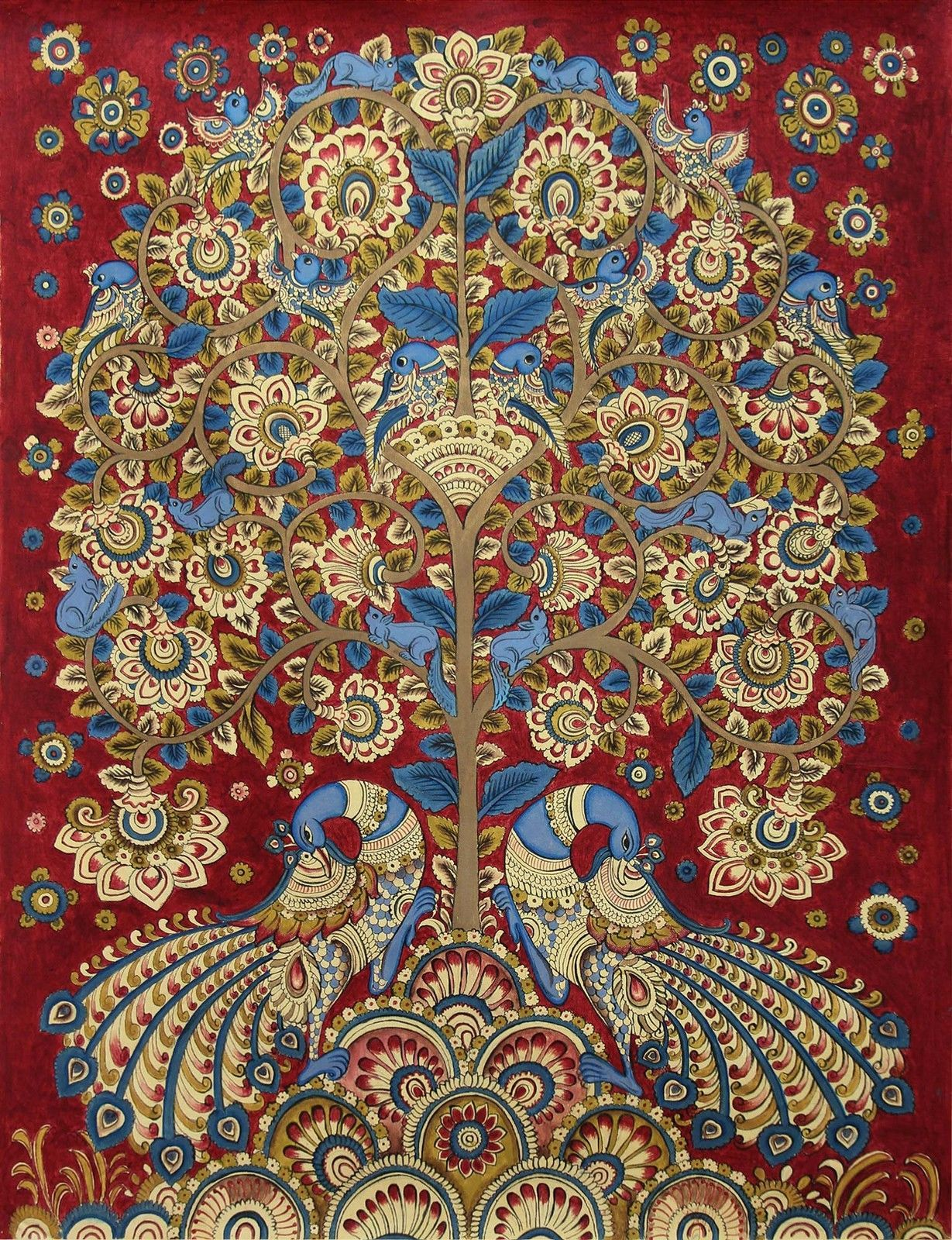 Kalamkari Painting Tree of Life Signed Folk Art ...