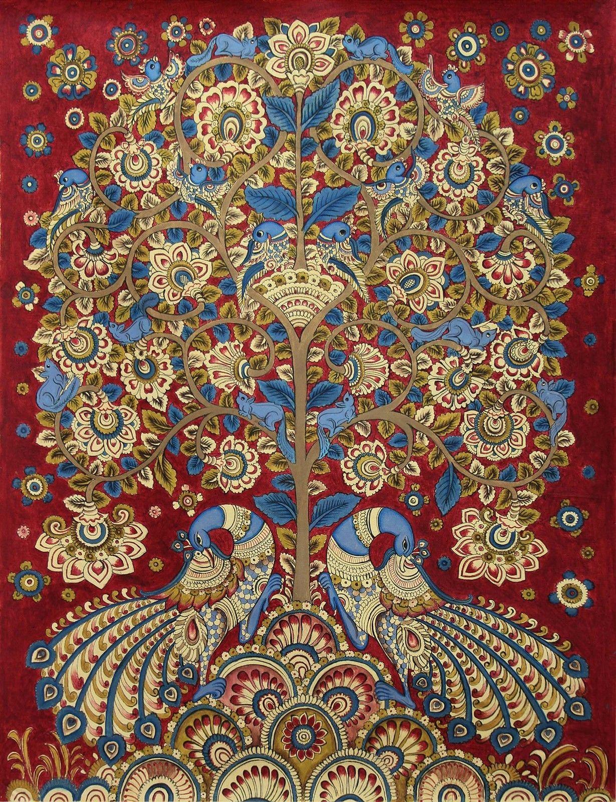 kalamkari painting tree of life signed folk art