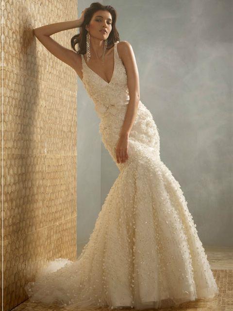 cuello v vestido de novia