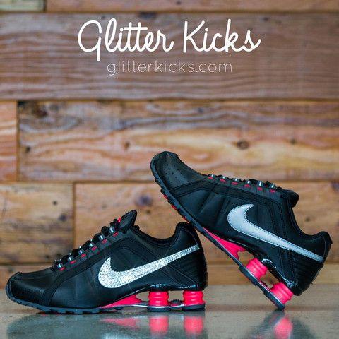 Nike Shox Current Glitter Kicks Running Shoes Black Pink  436cef317