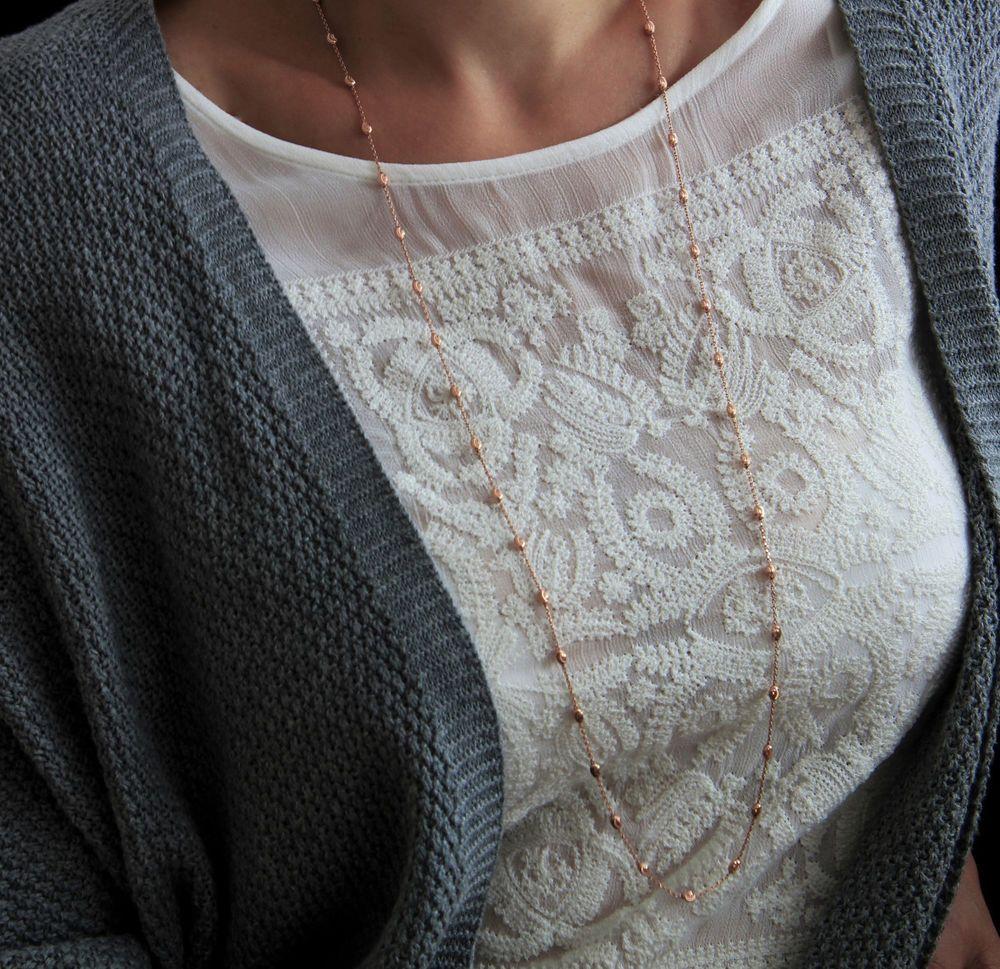 Feine Lange Kugelkette in Rosegold, 925 Silber