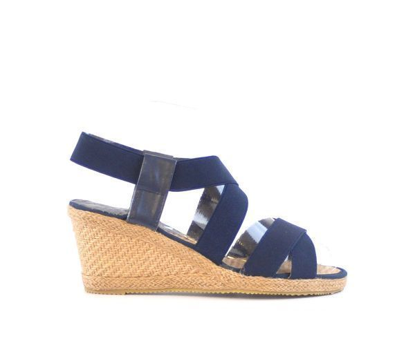 4773d66668 Ladies 889255 Navy Blue Elastic Straps Espadrille Wedges Sandals Sizes UK 3  - 8