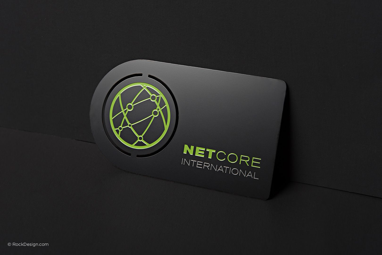 Stylish black metal business card with custom shape and etching ...