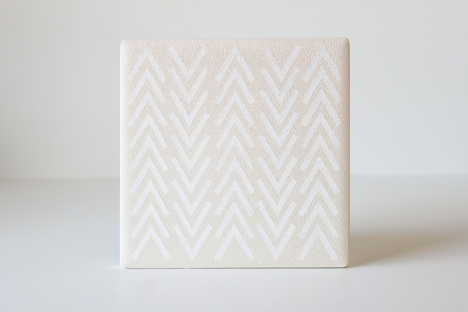 white modern coasters hand painted white on white ceramic tile  - white modern coasters hand painted white on white by thecoastal