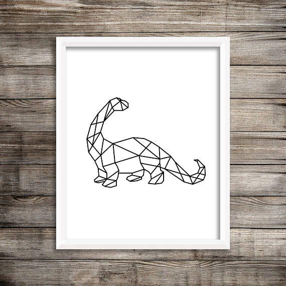 Geometric Dinosaur Art Set Bundle - 8x10 Black and White, Printable, Playroom, Boy Art, Trex, Tyrannosaurus, Triceratops, Brontosaurus